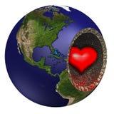 Corazón de sangría de la tierra de madre Imagen de archivo