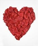 Corazón de seda del pétalo de Rose Imágenes de archivo libres de regalías