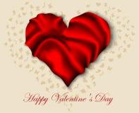 Corazón de seda en Valentine Day Imagen de archivo libre de regalías