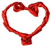Corazón de seda rojo Fotos de archivo libres de regalías