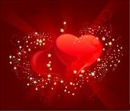 Corazón de tres rojos Imágenes de archivo libres de regalías