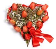 Corazón de tulipanes Fotografía de archivo