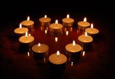 Corazón de velas Imágenes de archivo libres de regalías