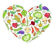 Corazón de verduras en blanco Fotos de archivo