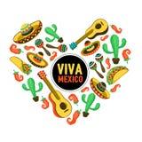 Corazón de Viva México stock de ilustración