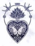 Coraz?n decorativo adornado con la llama stock de ilustración