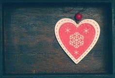 Corazón decorativo al día de las vacaciones de invierno, del ` s del Año Nuevo, de la Navidad y de la tarjeta del día de San Vale Foto de archivo libre de regalías