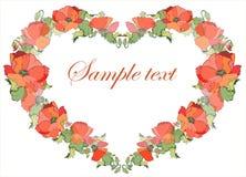 Corazón decorativo. Amapola. Fotos de archivo libres de regalías