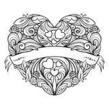 Corazón decorativo con el estampado de flores Foto de archivo libre de regalías