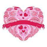 Corazón decorativo con el estampado de flores Fotografía de archivo libre de regalías