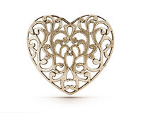 Corazón decorativo de bronce Fotos de archivo libres de regalías