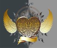 Corazón decorativo del oro con las alas stock de ilustración