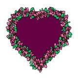 Corazón decorativo en un marco floral Ejemplo del vector en un fondo aislado ilustración del vector