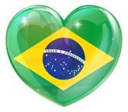 Corazón del amor de la bandera del Brasil Imagenes de archivo