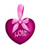 Corazón del amor de la tarjeta del día de San Valentín con el arco rosado Imagenes de archivo