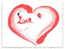 Corazón del amor de la tinta de la tarjeta del día de San Valentín Fotografía de archivo libre de regalías