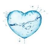Corazón del amor del chapoteo del agua Fotografía de archivo libre de regalías