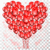 Corazón del amor del globo en fondo transparente Imagen de archivo libre de regalías
