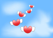 Corazón del amor del vuelo Foto de archivo
