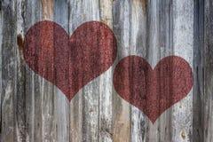 Corazón del amor en la madera del vintage stock de ilustración