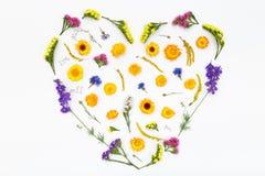 Corazón del amor, fondo de las flores de las tarjetas del día de San Valentín Visión superior, endecha plana Imágenes de archivo libres de regalías