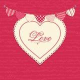 Corazón del amor y fondo del empavesado Imágenes de archivo libres de regalías
