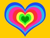 Corazón del arco iris en fondo amarillo stock de ilustración