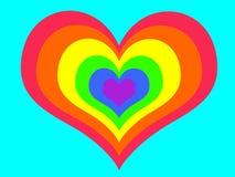 Corazón del arco iris en fondo azul ilustración del vector