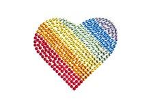 Corazón del arco iris hecho de diamantes artificiales Fotos de archivo