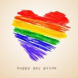 Corazón del arco iris y día feliz del orgullo gay del texto, con un efecto retro fotos de archivo libres de regalías