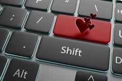 corazón del botón del ejemplo 3d en su teclado Foto de archivo