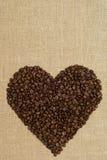Corazón del café de granos Fotografía de archivo libre de regalías