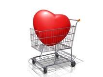 Corazón del carro de la compra. Imágenes de archivo libres de regalías