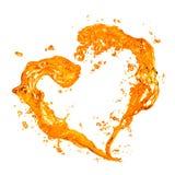Corazón del chapoteo amarillo del agua con las burbujas aisladas en blanco Fotos de archivo libres de regalías