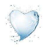 Corazón del chapoteo del agua aislado Fotografía de archivo