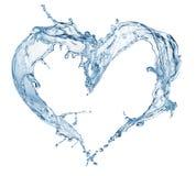 Corazón del chapoteo del agua con las burbujas Fotografía de archivo