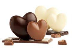 Corazón del chocolate del día de tarjetas del día de San Valentín imágenes de archivo libres de regalías