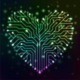 Corazón del circuito con las luces de neón multicoloras Imagen de archivo