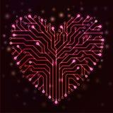 Corazón del circuito con las luces de neón rojas Fotos de archivo