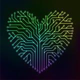 Corazón del circuito con multicolor Fotos de archivo
