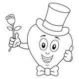 Corazón del colorante con la corbata de lazo y Rose del sombrero de copa Fotos de archivo libres de regalías