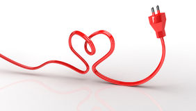 corazón del contorno 3d de la cuerda eléctrica Imagen de archivo