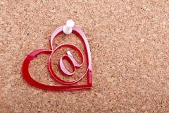 Corazón del correo electrónico del amor Imagenes de archivo