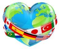 Corazón del Día de la Tierra con las banderas libre illustration