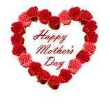Corazón del día de madre hecho de rosas rojas Fotografía de archivo libre de regalías