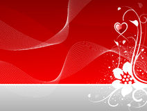 Corazón del día de tarjeta del día de San Valentín floral con las ondas abstractas Fotografía de archivo