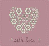 Corazón del día de tarjetas del día de San Valentín de la tarjeta de las flores Fotografía de archivo