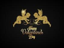 Corazón del día de tarjetas del día de San Valentín Fondo del ángel del oro libre illustration