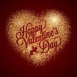 Corazón del día de tarjetas del día de San Valentín Fondo del brillo del oro libre illustration