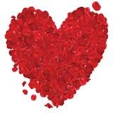 Corazón del día de tarjetas del día de San Valentín hecho de las rosas rojas aisladas en el blanco - ejemplo, vector Fotos de archivo